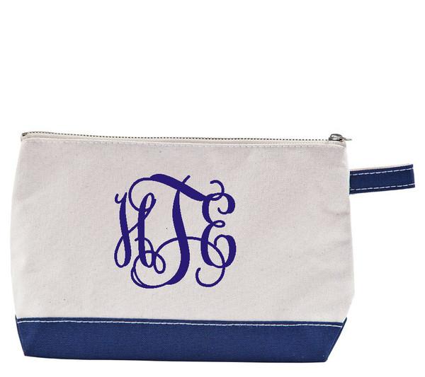 Monogrammed Canvas Cosmetic Bag www.tinytulip.com Navy Interlocking Font