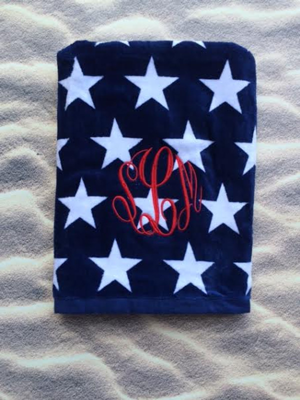 Monogrammed Star Towel www.tinytulip.com Red Master Script