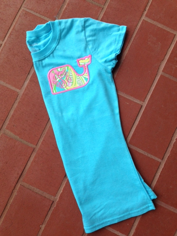 Monogrammed Lilly Pulitzer Whale Applique T-shirt  www.tinytulip.com