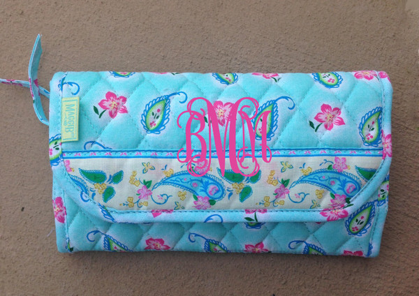 Crossbody Quilted Pattern Wallet www.tinytulip.com Blue Flowers
