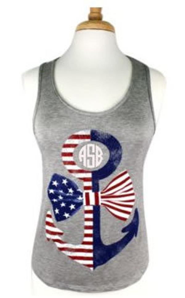 Monogrammed Red, White and Blue Anchor Bow Racerback Tank www.tinytulip.com