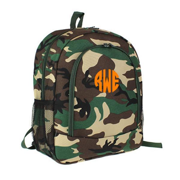Monogrammed Camo Backpack