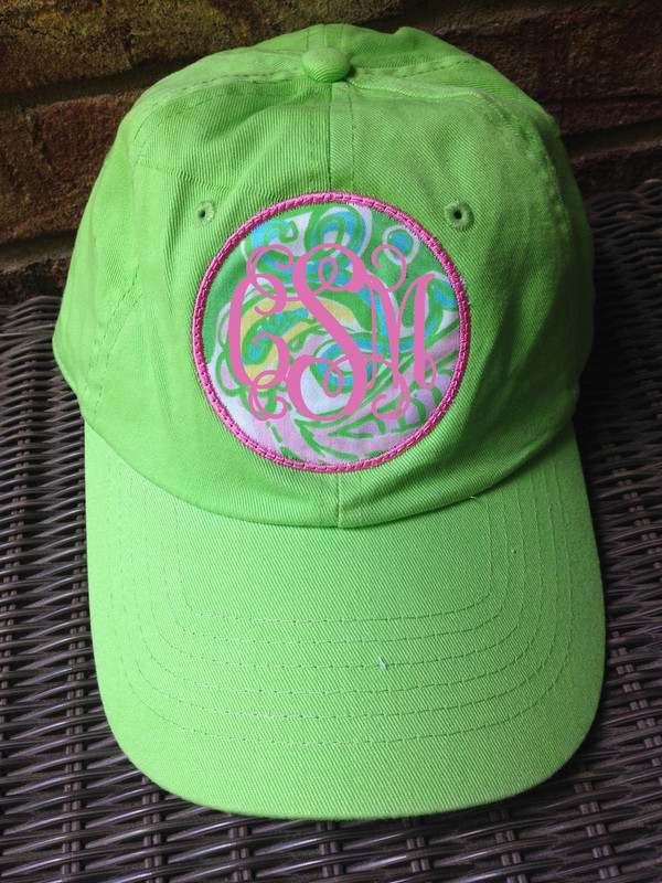 Monogrammed Lilly Pulitzer Fabric Baseball Hat www.tinytulip.com Preppy Pink Interlocking with Chin Chin Fabric on Lime Green Hat