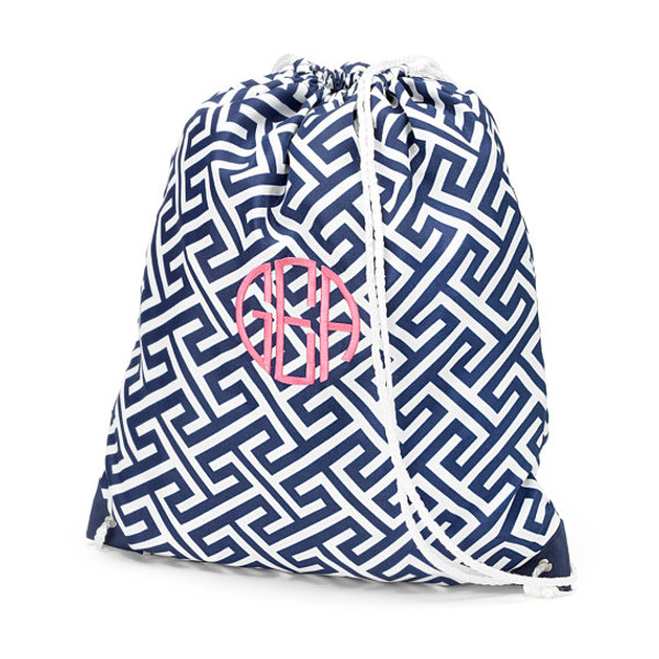 Monogrammed Greek Key Drawstring Gym Backpack