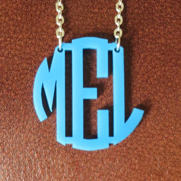 Floating Acrylic Monogram Necklace www.tinytulip.com