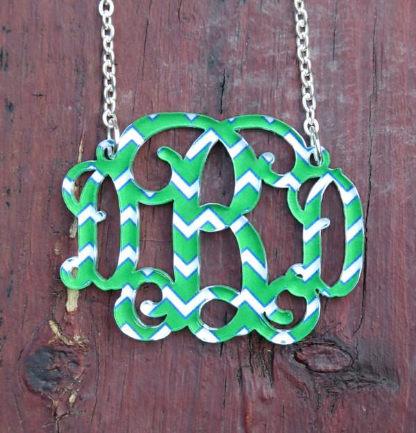 Floating Chevron Monogram Necklace