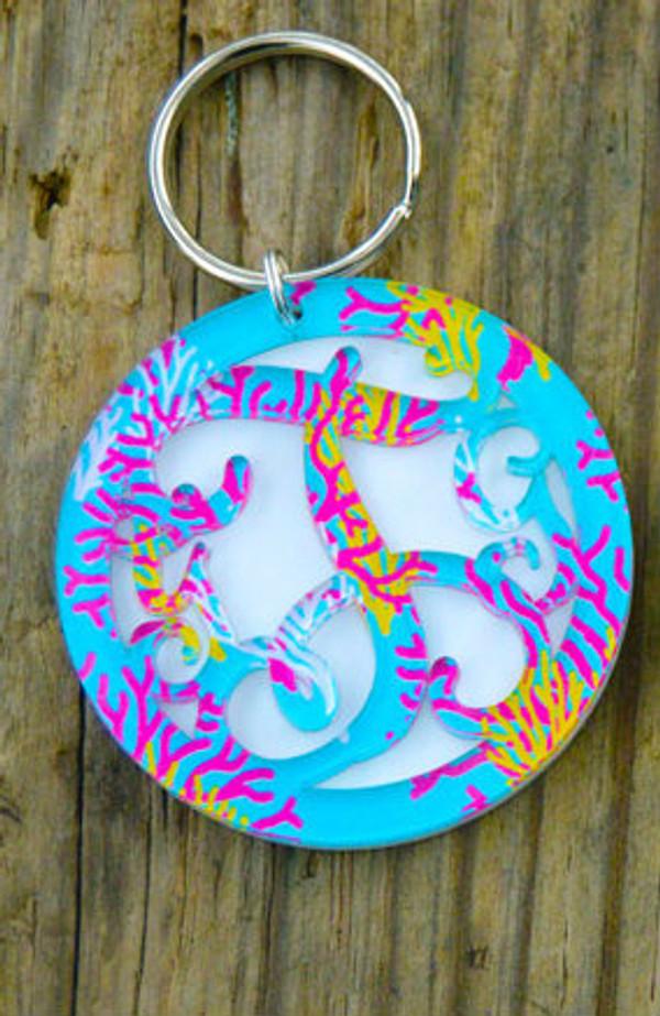 Pattern Layered Circle Monogram Keychain www.tinytulip.com