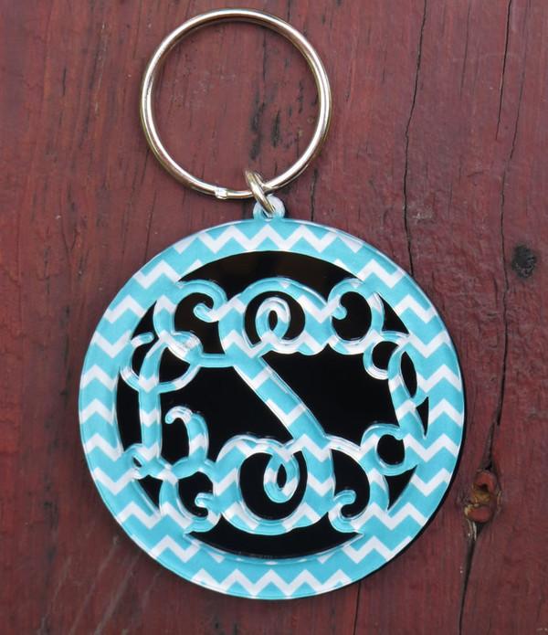 Chevron Layered Circle Monogram Keychain www.tinytulip.com