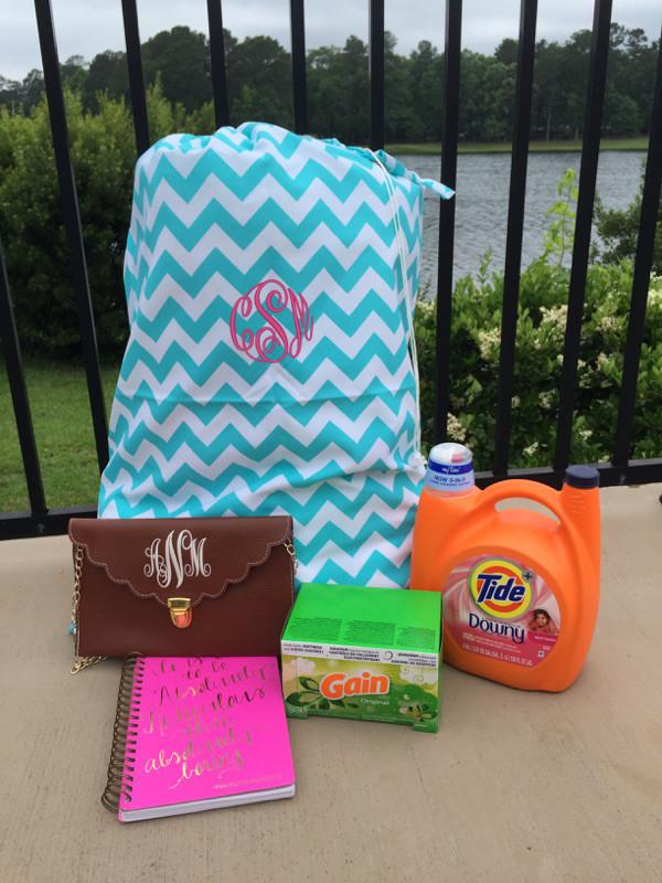 Monogrammed Chevron Laundry Bag www.tinytulip.com Aqua with Preppy Pink Master Script Font