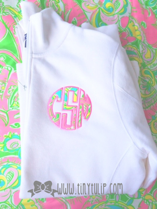 Monogrammed Lilly Pulitzer Quarter Zip Pullover www.tinytulip.com Chin Chin Fabric with Preppy Pink Thread