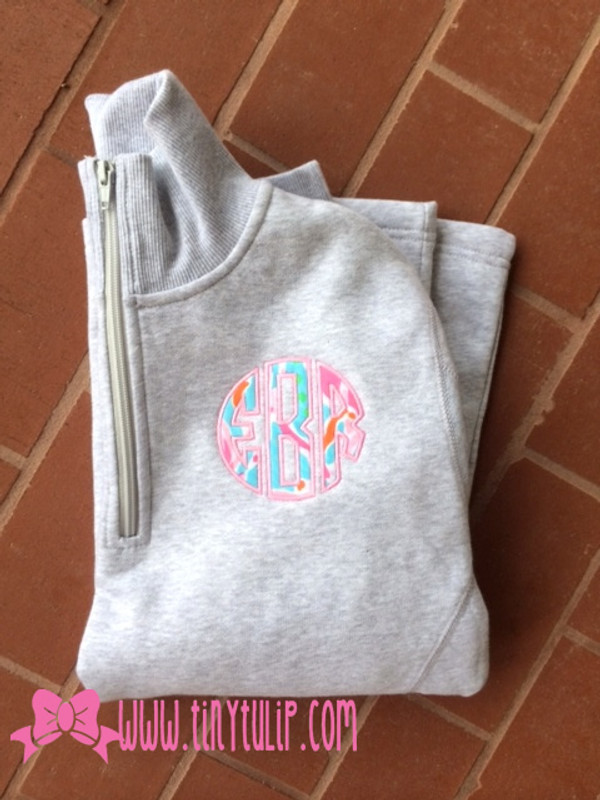 Monogrammed Lilly Pulitzer Quarter Zip Pullover www.tinytulip.com Jellies Be Jammin Fabric with Preppy Pink Thread