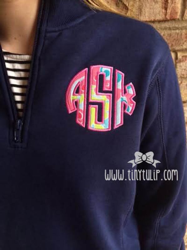 Monogrammed Lilly Pulitzer Quarter Zip Pullover www.tinytulip.com Hot Pink Monogram with Checking in Blue Fabric on Navy