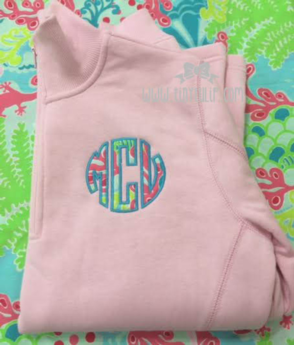 Monogrammed Lilly Pulitzer Quarter Zip Pullover www.tinytulip.com Checking in Blue Fabric with Turquoise Thread