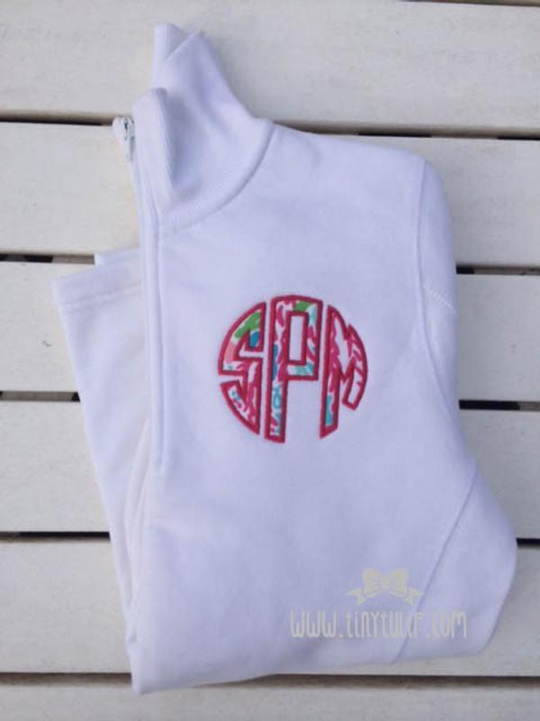 Monogrammed Lilly Pulitzer Quarter Zip Pullover www.tinytulip.com