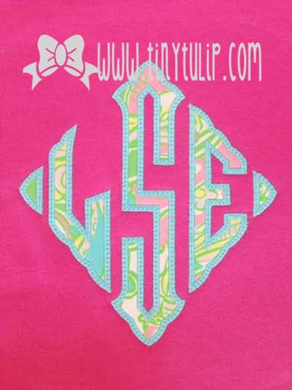 Lilly Pulitzer Oversized Diamond Monogrammed Sweatshirt www.tinytulip.com Turquoise thread on Chin Chin Fabric