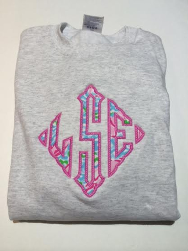 Lilly Pulitzer Oversized Diamond Monogrammed Sweatshirt www.tinytulip.com Lobstah Roll with Preppy Pink Thread on a Gray Sweater