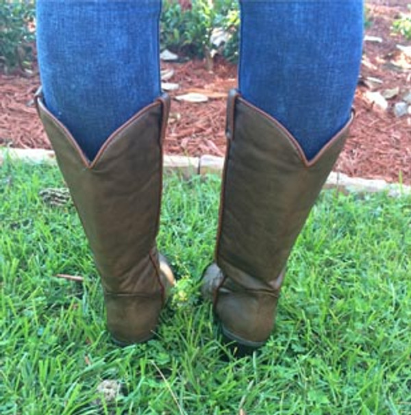 Monogrammed Brown Cowboy Western Boots Size 6 www.tinytulip.com Back View
