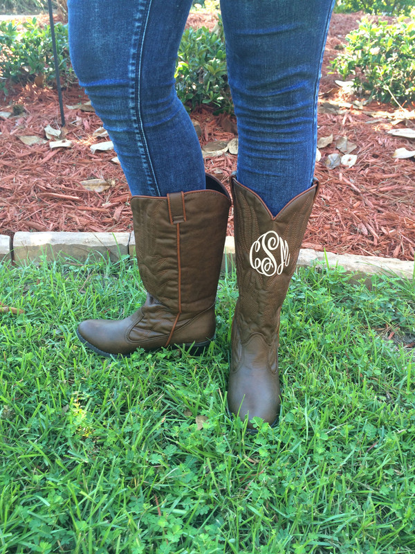 Monogrammed Brown Cowboy Western Boots Size 6 1/2  www.tinytulip.com Side View