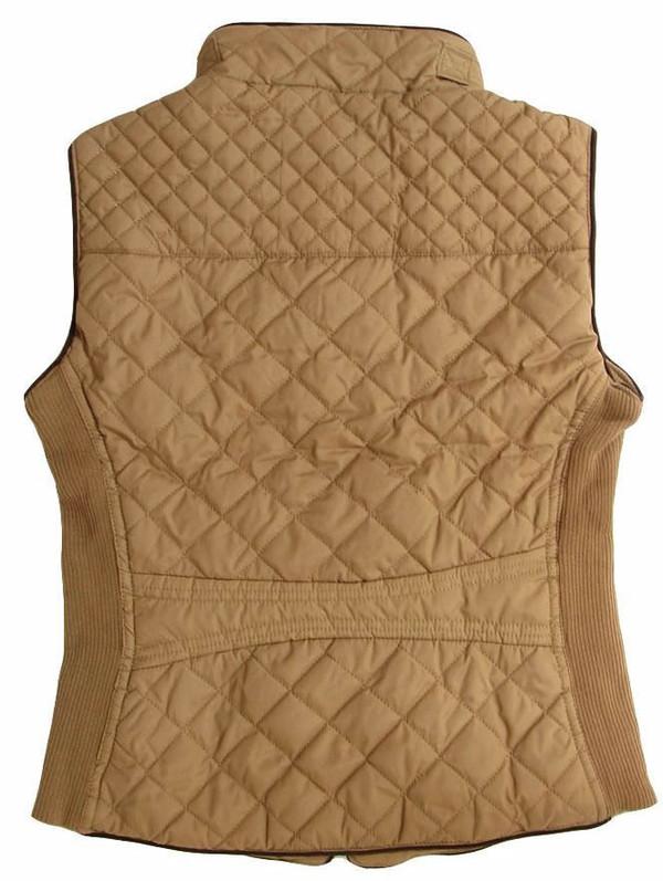 Monogrammed Camel Quilted Vest www.tinytulip.com