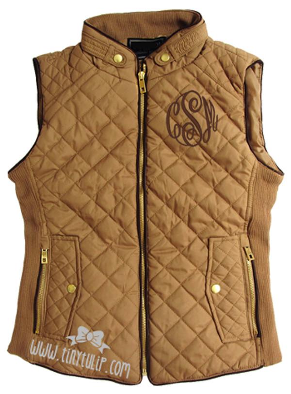 Monogrammed Camel Quilted Vest www.tinytulip.com Brown Master Script Font