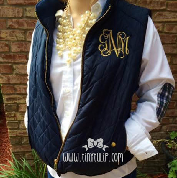 Monogrammed Navy Quilted Vest www.tinytulip.com Gold interlocking Monogram