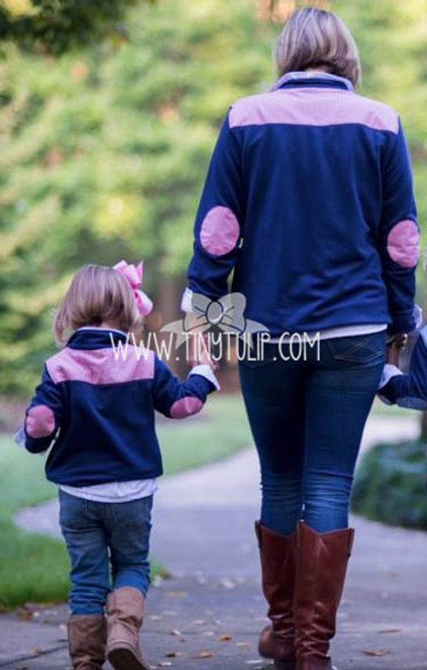 Monogrammed Youth Navy Gingham Small Pullover www.tinytulip.com
