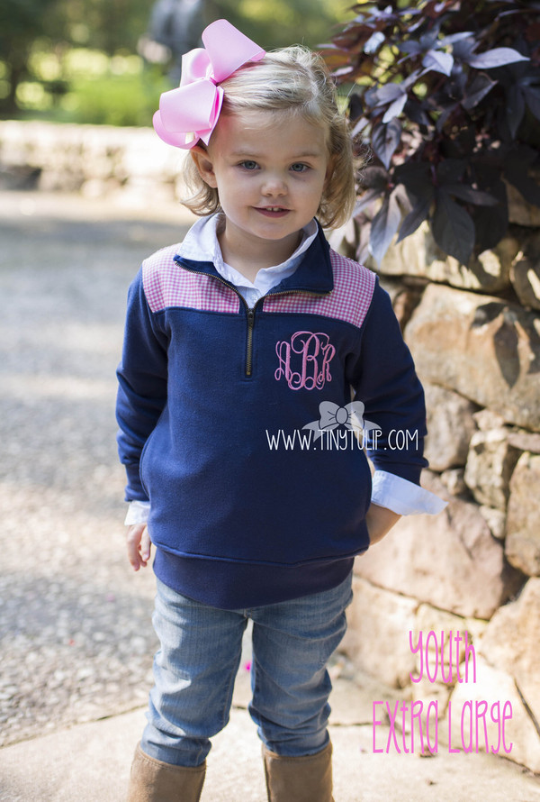 Monogrammed Youth Navy Gingham Extra Large Pullover www.tinytulip.com Preppy Pink Interlocking Monogram