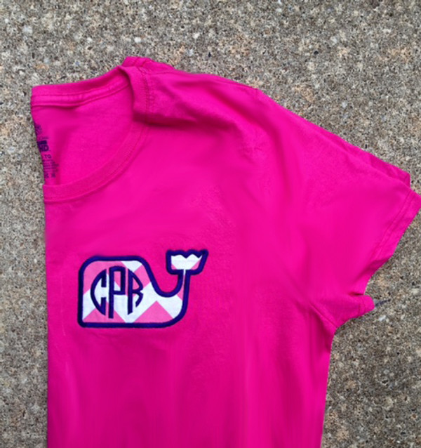 Monogrammed Chevron Whale Applique T-shirt www.tinytulip.c Hot Pink Chevron with Navy Font