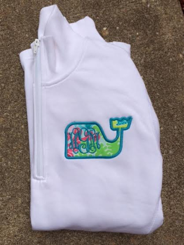 Monogrammed Lilly Pulitzer Whale Quarter Zip Pullover   www.tinytulip.com Checking In Blue with Turquoise Font on a White Pullover