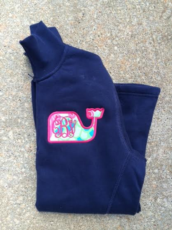 Monogrammed Lilly Pulitzer Whale Quarter Zip Pullover   www.tinytulip.com Checking In Blue with Hot Pink Font on a Navy Pullover