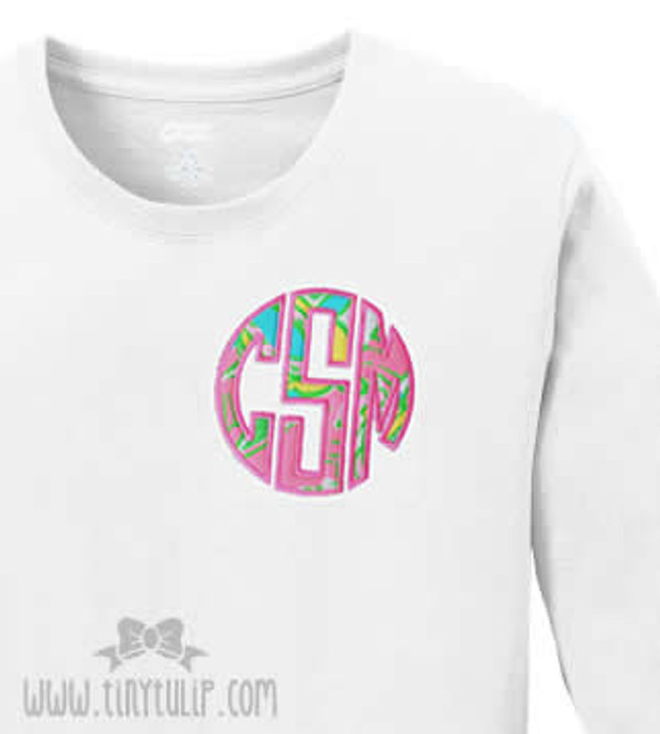 Lilly Pulitzer Circle Monogram Tshirt   www.tinytulip.com Chin Chin Fabric with Preppy Pink Thread