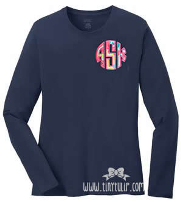 Lilly Pulitzer Circle Monogram Tshirt   www.tinytulip.com Checking in Blue Fabric with Hot Pink Thread