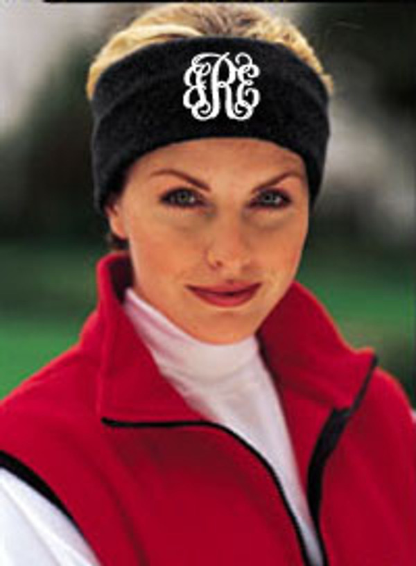 Monogrammed Fleece Headband  www.tinytulip.com Black Headband with White Interlocking Font