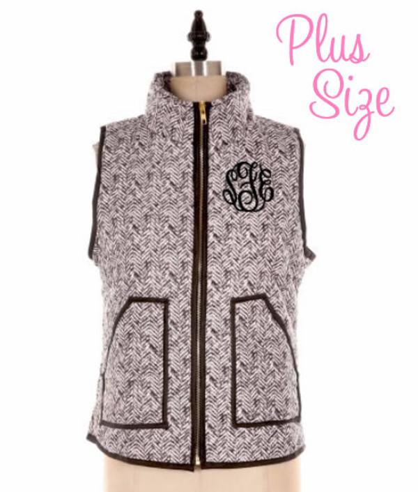 Monogrammed Plus Quilted Herringbone Vest  www.tinytulip.com Black Master Script Font