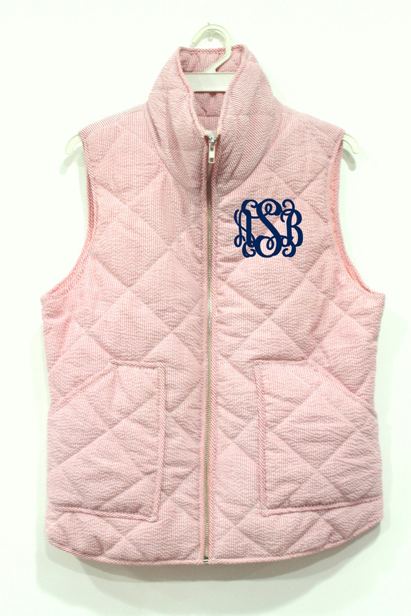 Monogrammed Quilted Red Seersucker Vest  www.tinytulip.com Navy Interlocking Font