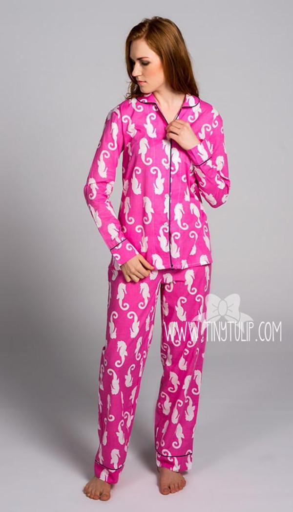 Seahorse Monogrammed Long Pajama Set www.tinytulip.com