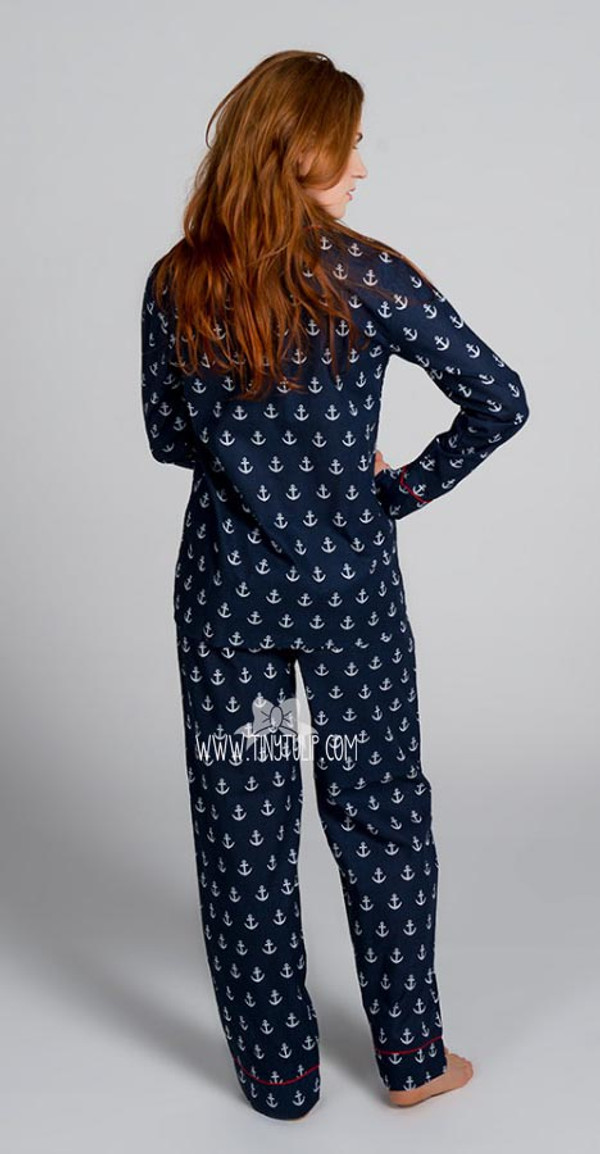 Anchors Monogrammed Long Pajama Set  www.tinytulip.com