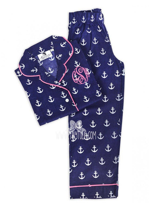 Anchors Monogrammed Kids Long Pajama Set www.tinytulip.com Preppy Pink Master Script