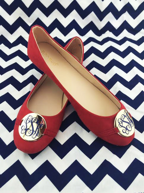 Red Monogrammed Ballet Flats www.tinytulip.com Navy Interlocking Font