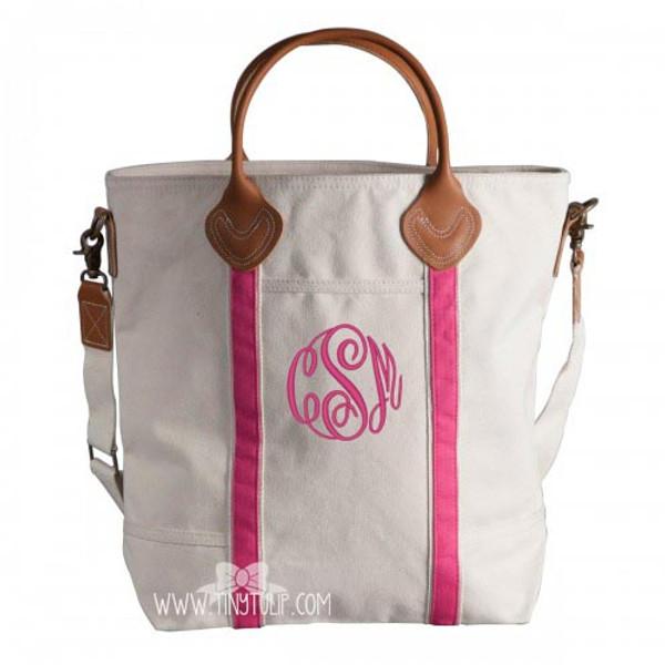 Monogrammed Canvas Pink Flight Bags