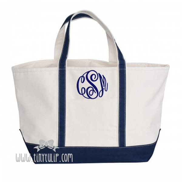 Monogrammed Canvas Navy Large Boat Tote www.tinytulip.com Navy Master Script