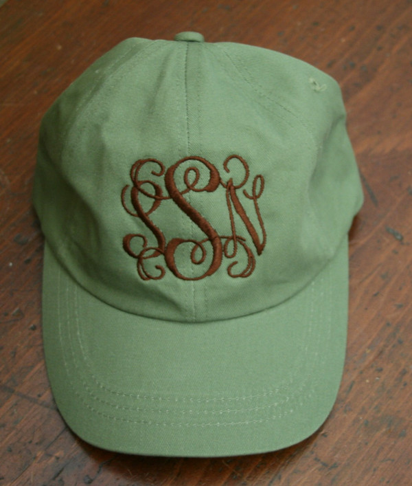 Olive Green Hat with Brown Interlocking Font