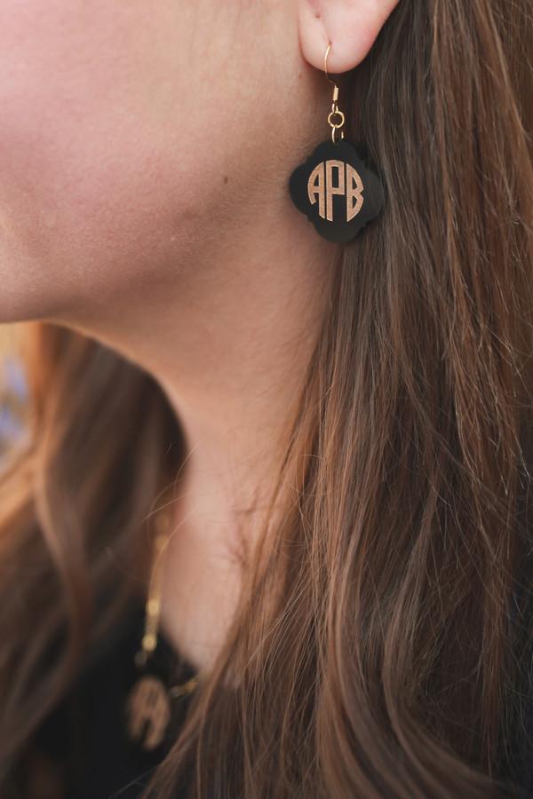 Monogram Engraved Earrings www.tinytulip.com