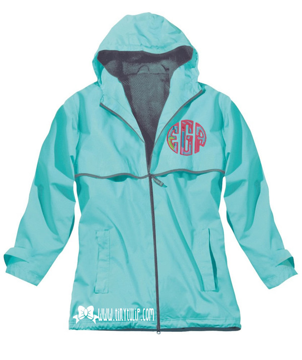 Lilly Pulitzer Monogrammed Raincoat www.tinytulip.com Aqua Raincoat with Checking In Blue Fabric and Preppy Pink Thread