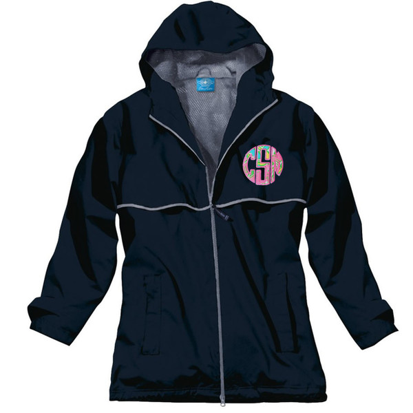 Lilly Pulitzer Monogrammed Raincoat www.tinytulip.com Navy Raincoat with Chin Chin Fabric and Preppy Pink Thread