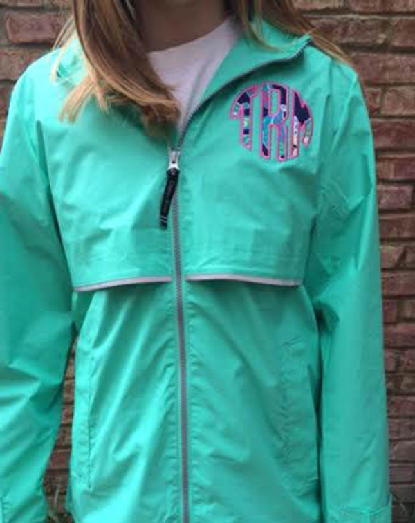 Lilly Pulitzer Monogrammed Raincoat www.tinytulip.com Mint Raincoat with Navy Trunk Show Fabric and Preppy Pink Thread
