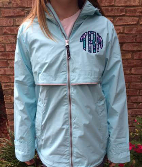 Lilly Pulitzer Monogrammed Raincoat www.tinytulip.com Aqua Raincoat with Seafoam Fabric and Navy Thread