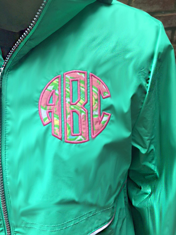 Lilly Pulitzer Monogrammed Raincoat www.tinytulip.com Mint Raincoat with Chin Chin Fabric and Preppy Pink Thread