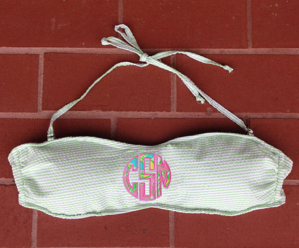 Lilly Pulitzer Monogrammed Green Seersucker Bandeau Bathing Suit Seersucker with Chin Chin Fabric and Preppy Pink thread