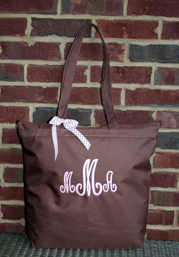 Chocolate Brown with Pink Swirly Monogram